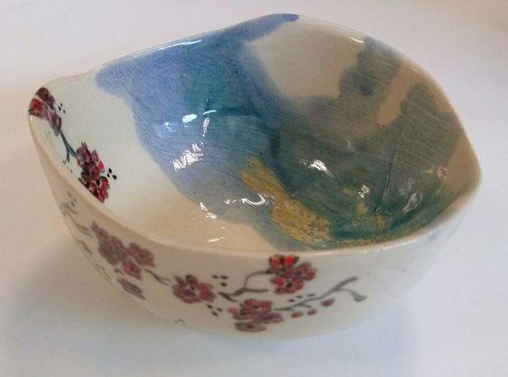 Annapia Sogliani bowl ceramic handmade, japanese set, ciotole fatte e decorate a mano ceramica bol en céramique, grès décor engobe, fait à la main, service cerisiers japonais, art de la table, made in Paris