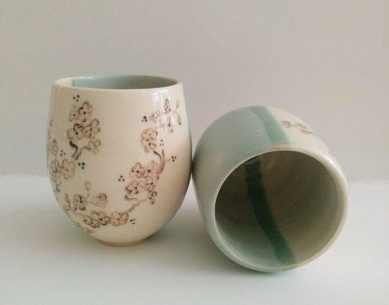 Annapia Sogliani tazze da té ceramica fatta e decorata a mano engobbio, bols à thé, céramique faite et décorée main grès décor engobe