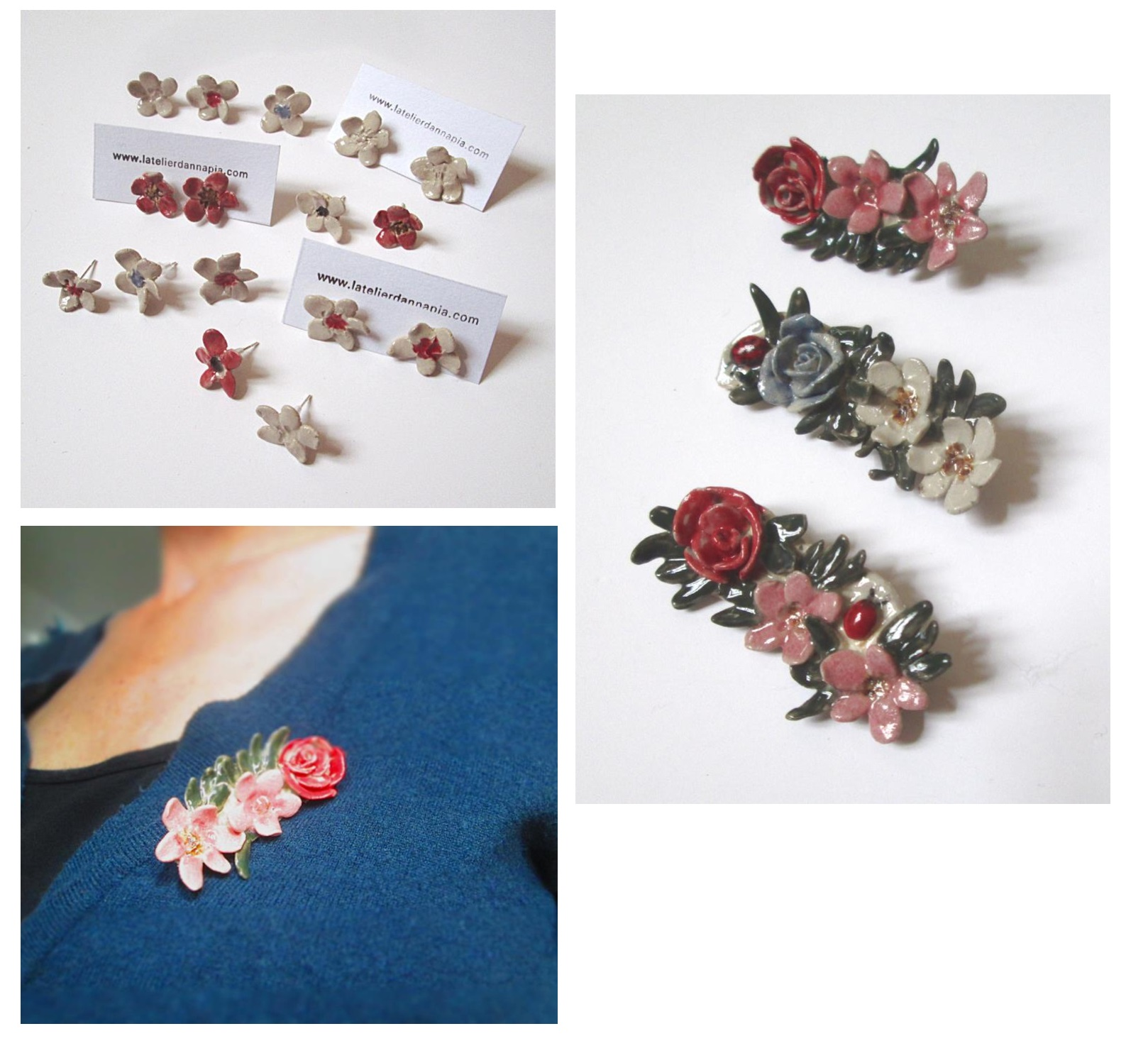 bijoux céramique fait main broches et boucles d'oreille fleurs, orecchini e spille fatti a mano in ceramica , handmade ceramic jewelery