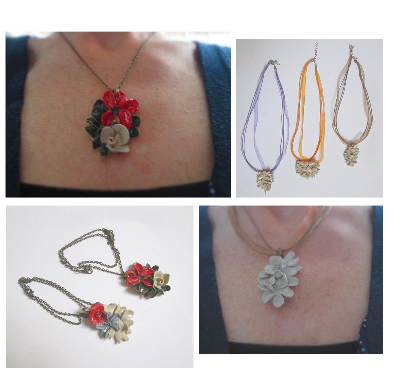 bijoux céramique fait main colliers fleurs, gioielli fatti a mano in ceramica , handmade ceramic jewelery