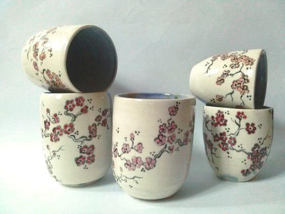 handmade japanese ceramic tea bowl mug craft Annapia Sogliani tazze da té ceramica fatta e decorata a mano engobbio, bols à thé, céramique faite et décorée main grès décor engobe