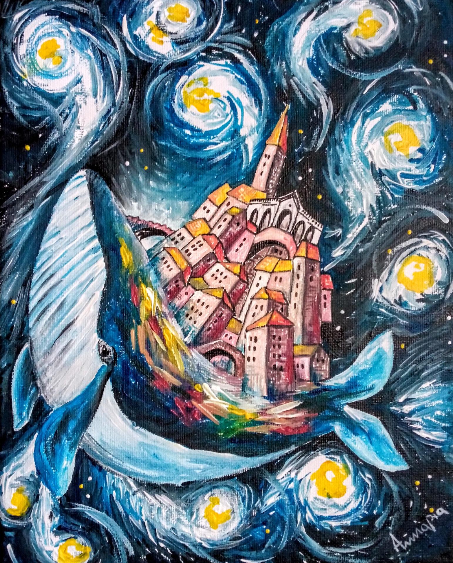 tableau surréaliste onirique poétique pieuvre baleine