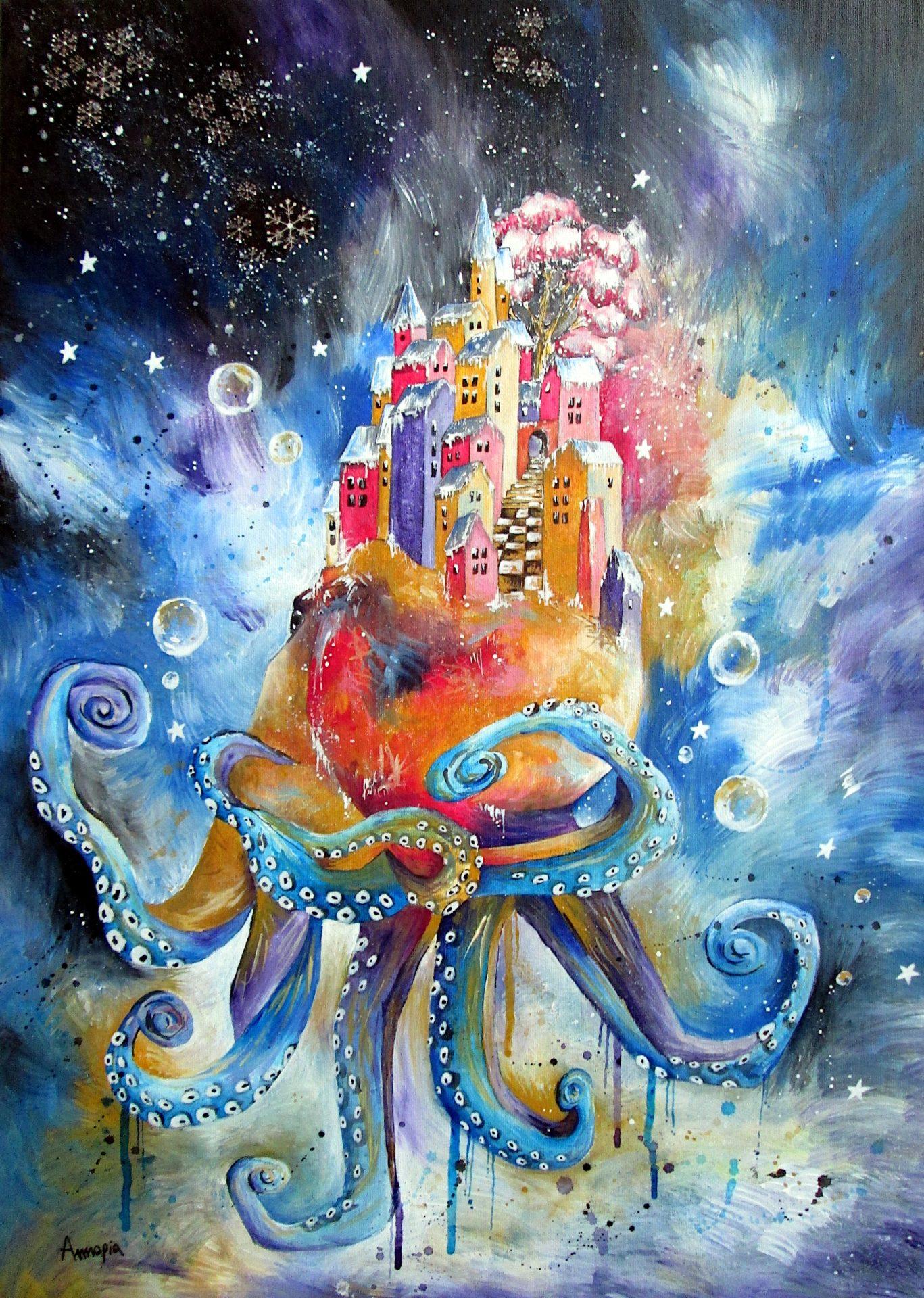 tableau surréaliste onirique poétique pieuvre poulpe
